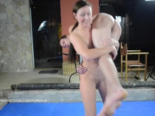 Lara Spandex vs. Andras - bare glamour hoist and carry with hand job Thumb