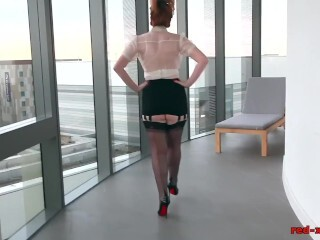 Red-haired Office Whore Plays With Her Crimson Cootchie Thumb