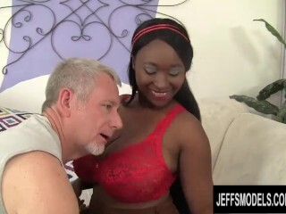 Monster Melons Ebony Plus-size Marie Leone Glides Her Muff on an Aged Milky Manhood Thumb